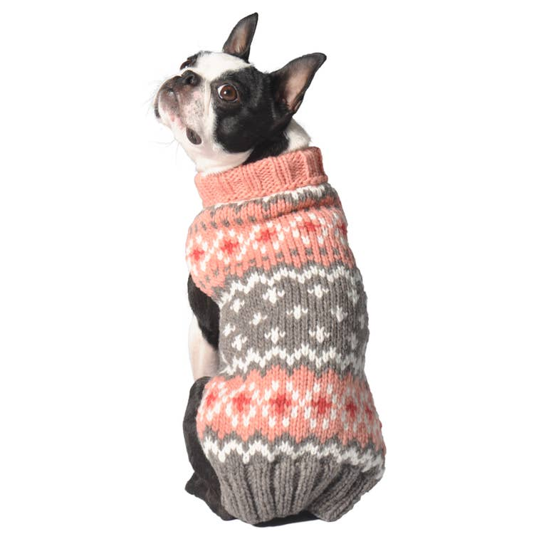 Chilly Dog Peach Fairisle Hand Knit Wool Dog Sweater