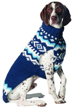 Chilly Dog Hand Knit Wool Alpaca Navy Nordic Fairisle Dog Sweater