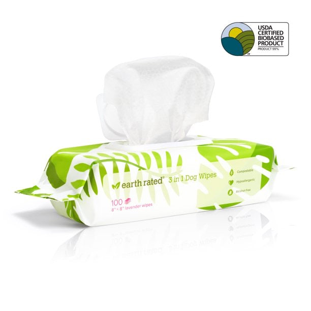 Earth Rated Compostable Pet Grooming Wipes - Lavender