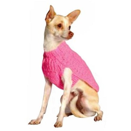 Chilly Dog Pink Wool Cable Knit Dog Sweater