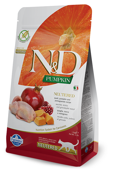 Farmina N&D Neutered, Quail, Pumpkin and Pomegranate Adult Dry Cat Food