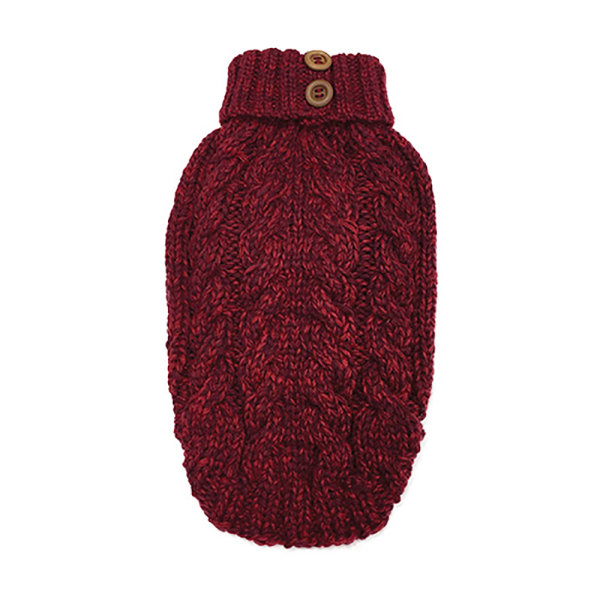FouFou Dog Luxe Cable Knit Sweater - Red