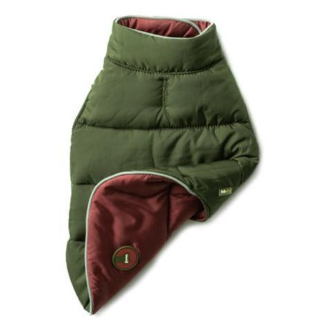 Reversible Puffer Vest Burgundy/Olive by Fabdog