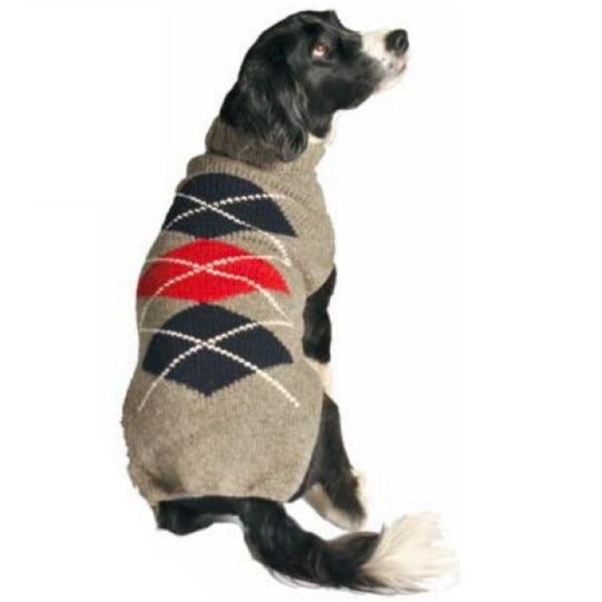Chilly Dog Hand Knit Wool Grey Argyle Dog Sweater