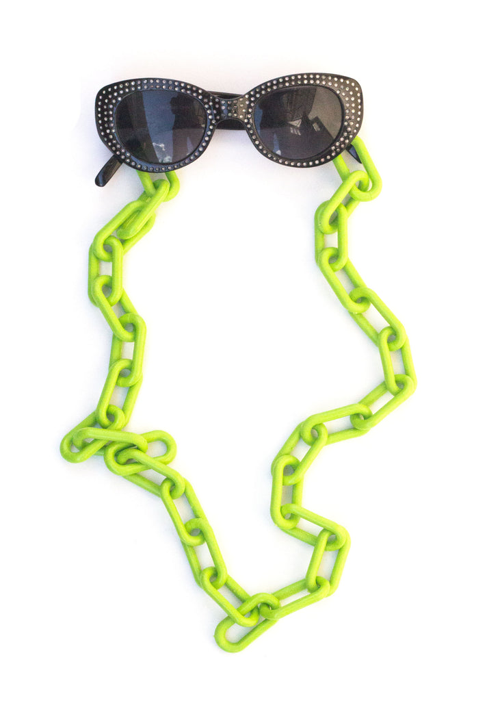 CHUNKY GLASSES CHAIN - LIME