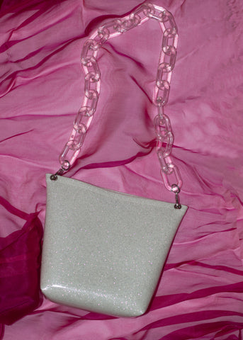 STARDUST II BAG - WHITE GLITTER & CLEAR CHAIN