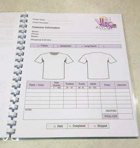 T-Shirt /Clothing Order Book