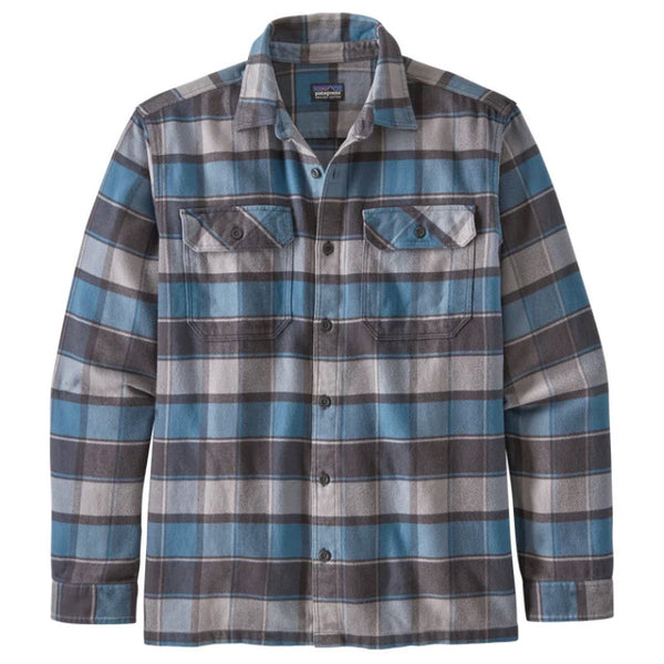 Men's LS Fjord Flannel Shirt - Plots: Pigeon Blue