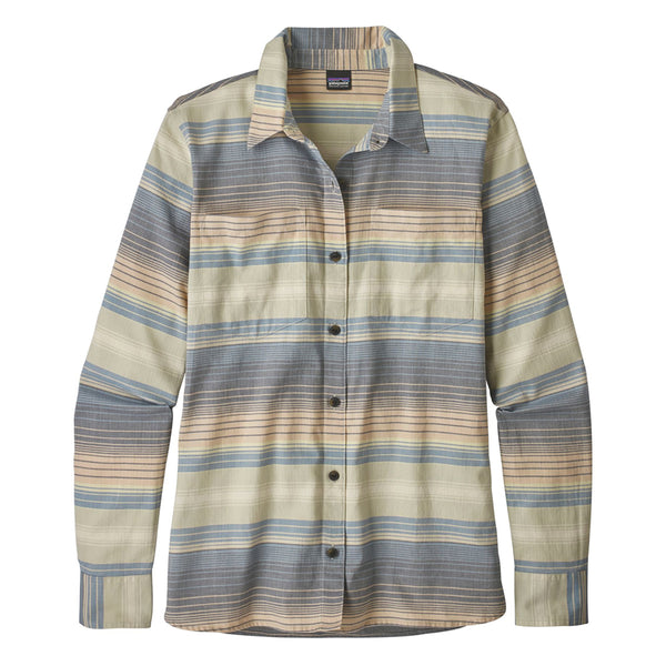 Women's Long-Sleeved Catbells Shirt - Blanket Stripe: Dolomite Blue