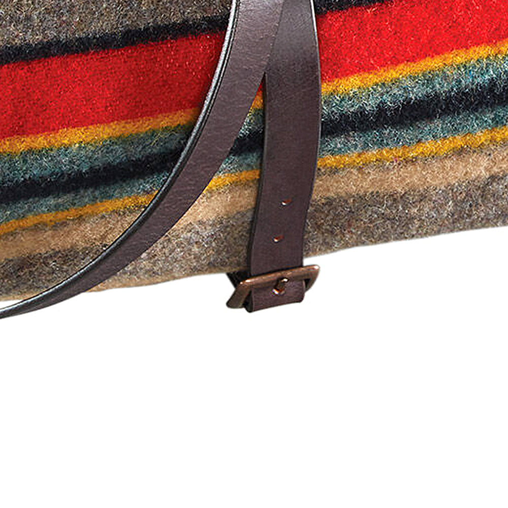 Premium Leather Blanket Carrier Large - Brown