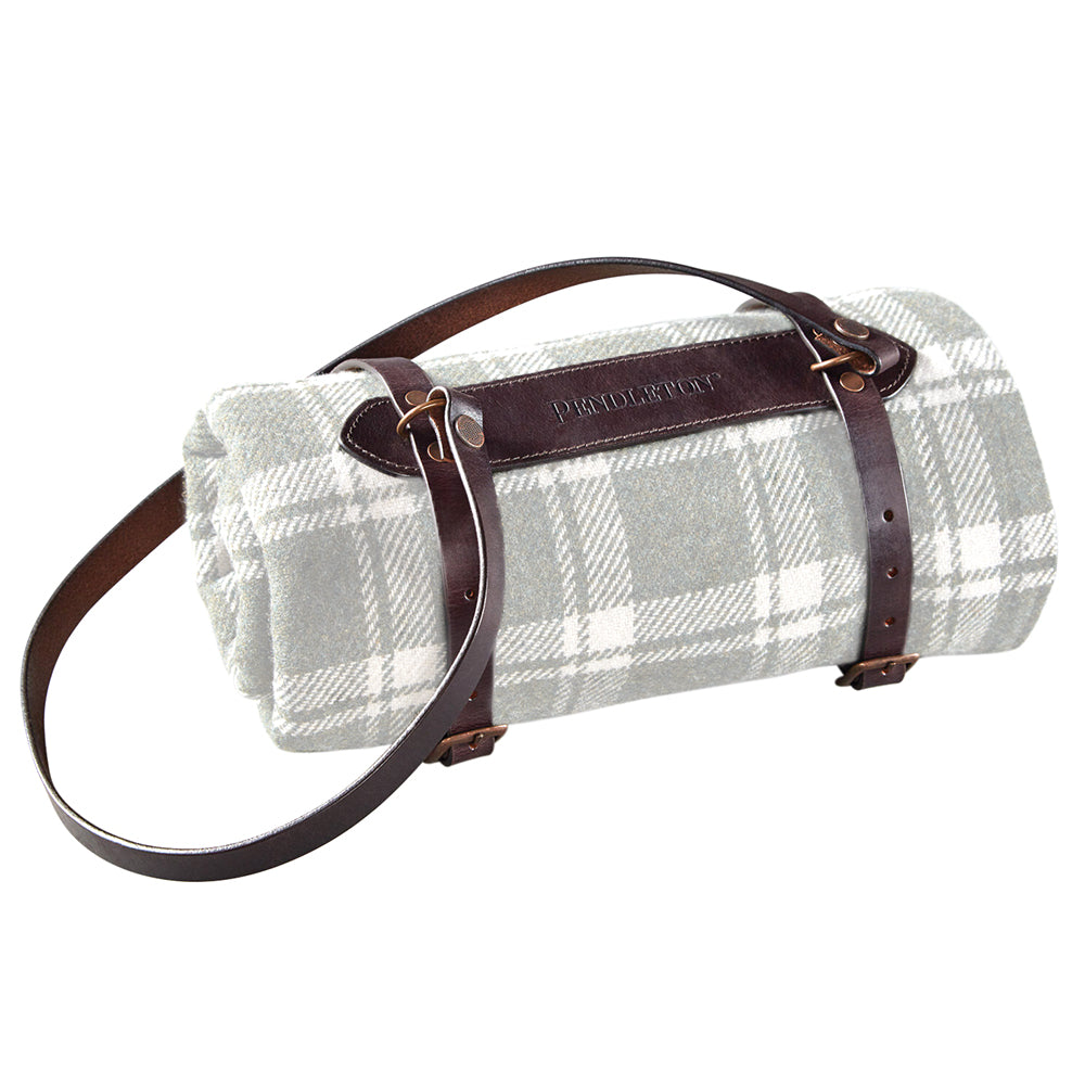 Premium Leather Blanket Carrier Small - Brown