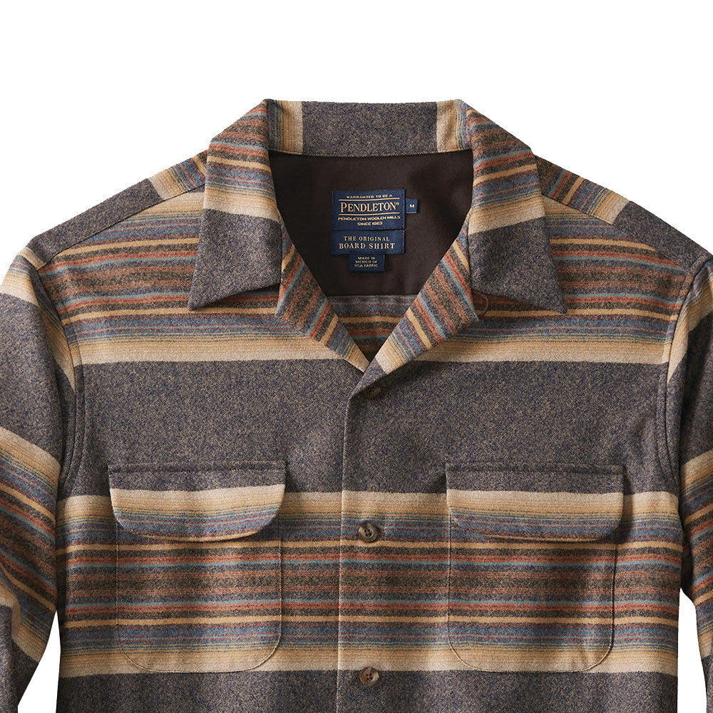 Fitted Board Shirt - Navy/ Tan Blue Stripe