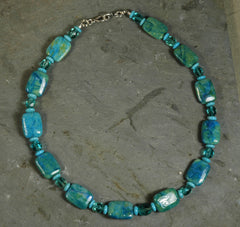 Chrysoprase Agate, Howlite & Crystal Bead Necklace
