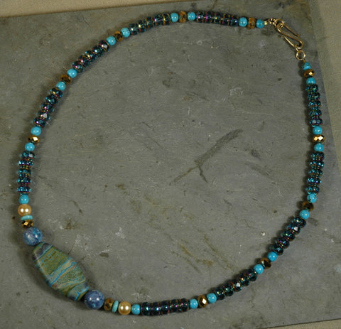 Turquoise, Fused Glass Bead & Crystal Necklace