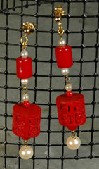 Cinnabar & Coral Earrings