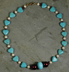 Turquoise Heart Bead Necklace