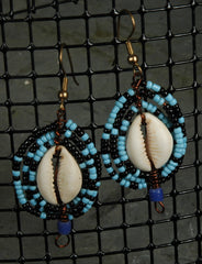 Fair Trade Ghanaian Cowrie Shell Beaded Earrings