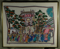 Fair Trade Framed Nakshi Kantha Street Scene with Mosque