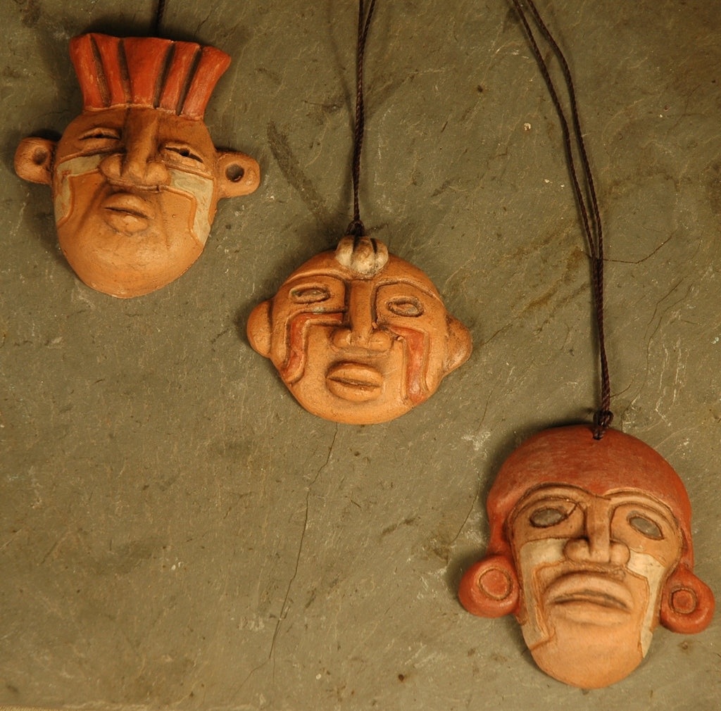 Fair Trade Chilean Ceramic Mask Pendant Set