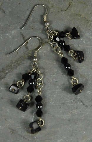 Fair Trade Guatemalan Onyx, Hematite & Crystal Earrings