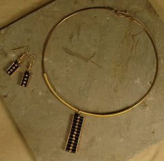 Fair Trade Kenyan Brass Pendant Necklace & Earring Set