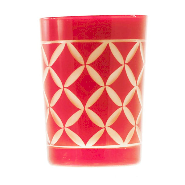 Wassail Candle in Red Glass
