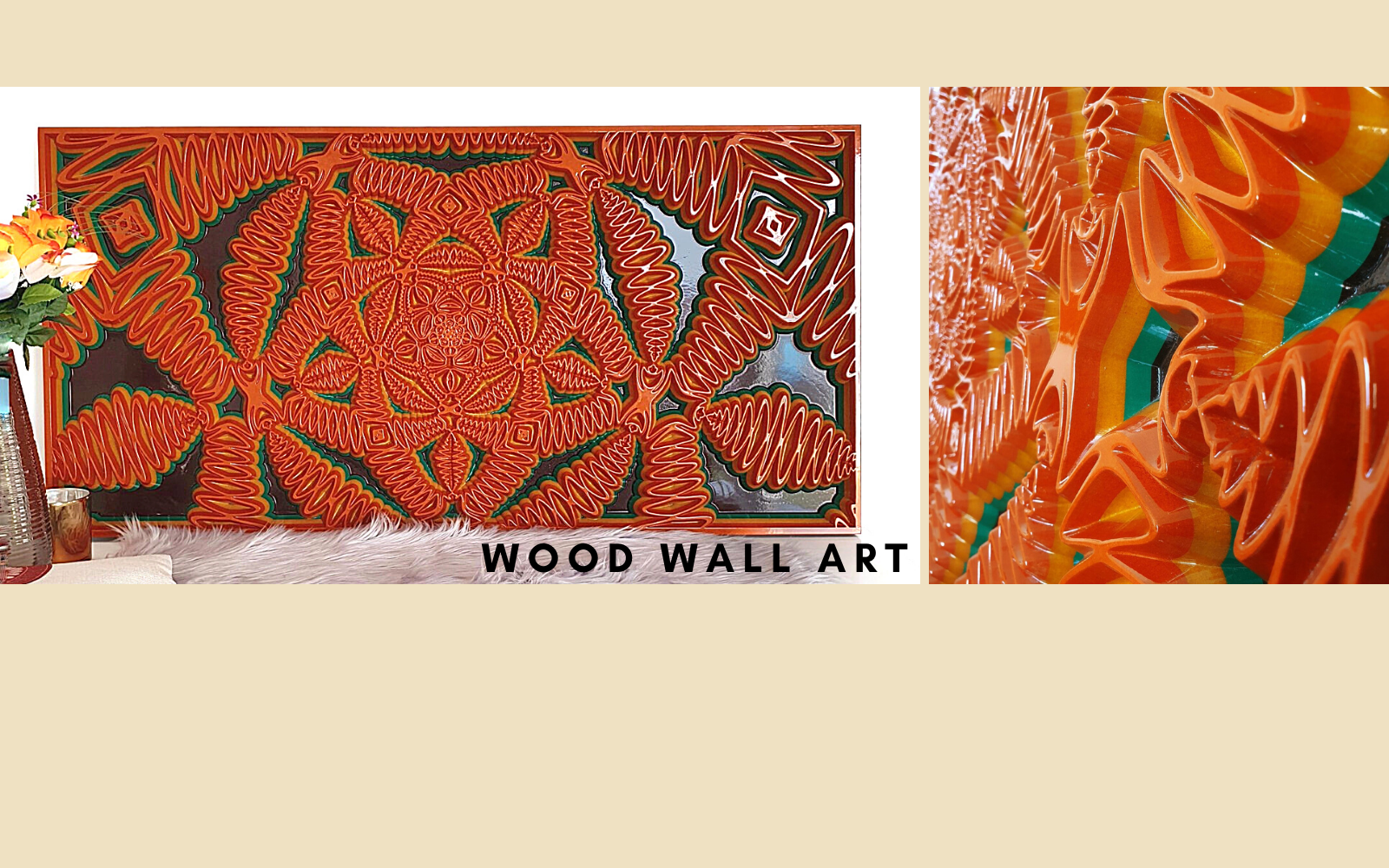 Wood wall art made with Valchromat. Geometric modern design created with a combination of orange, yellow, green and brown. These colours are shown in layers of valchromat.