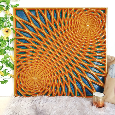 Wood wall art panel with yellow and blue colours made with wood. The geometric design in carved deeply into the wood creating a modern artwork.