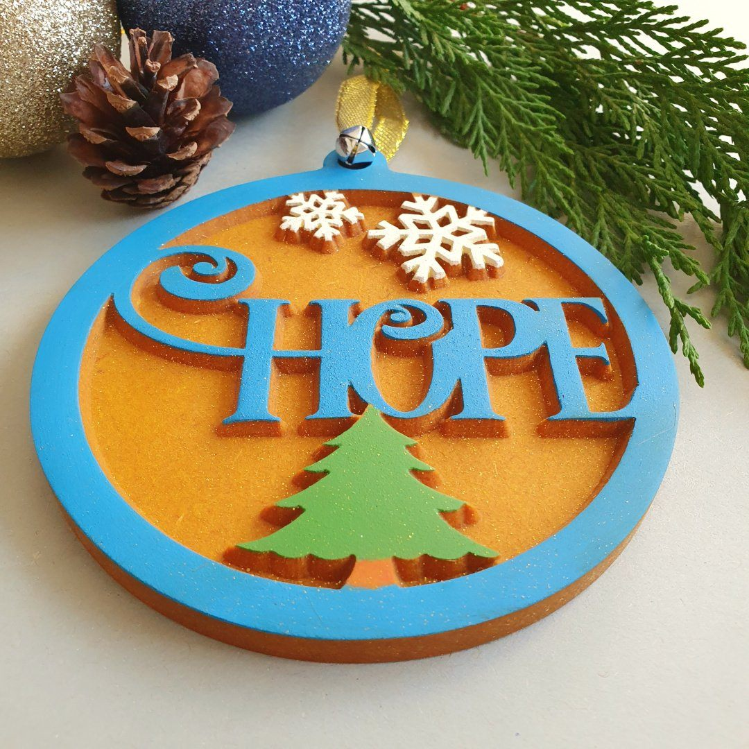 Hanging Christmas Tree Decoration Wood Christmas Ornaments Hope