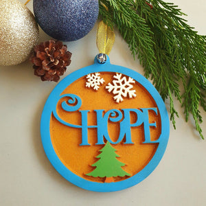Hanging Christmas Tree Decoration, Wood Christmas Ornaments, Hope