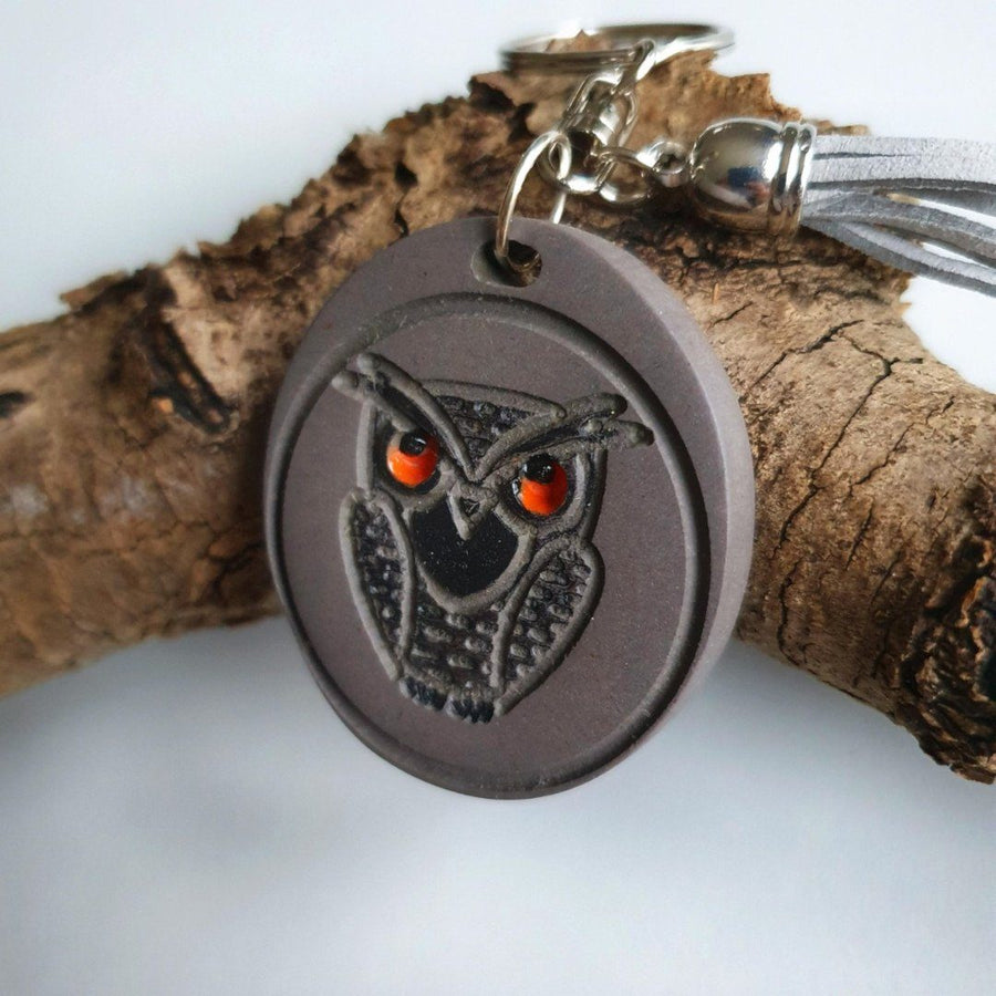 Keyring Owl, Owl Charm, Wood Keychain Owl, Tassel Keyring -  The Good Luck Owl