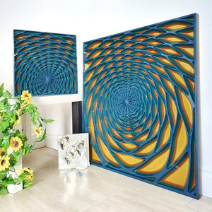 Wood wall art set of 2 created with Valchromat as wood material. Front view of the carved wall art