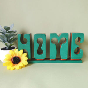 Modern Home letter sign created in wood with a modern design.