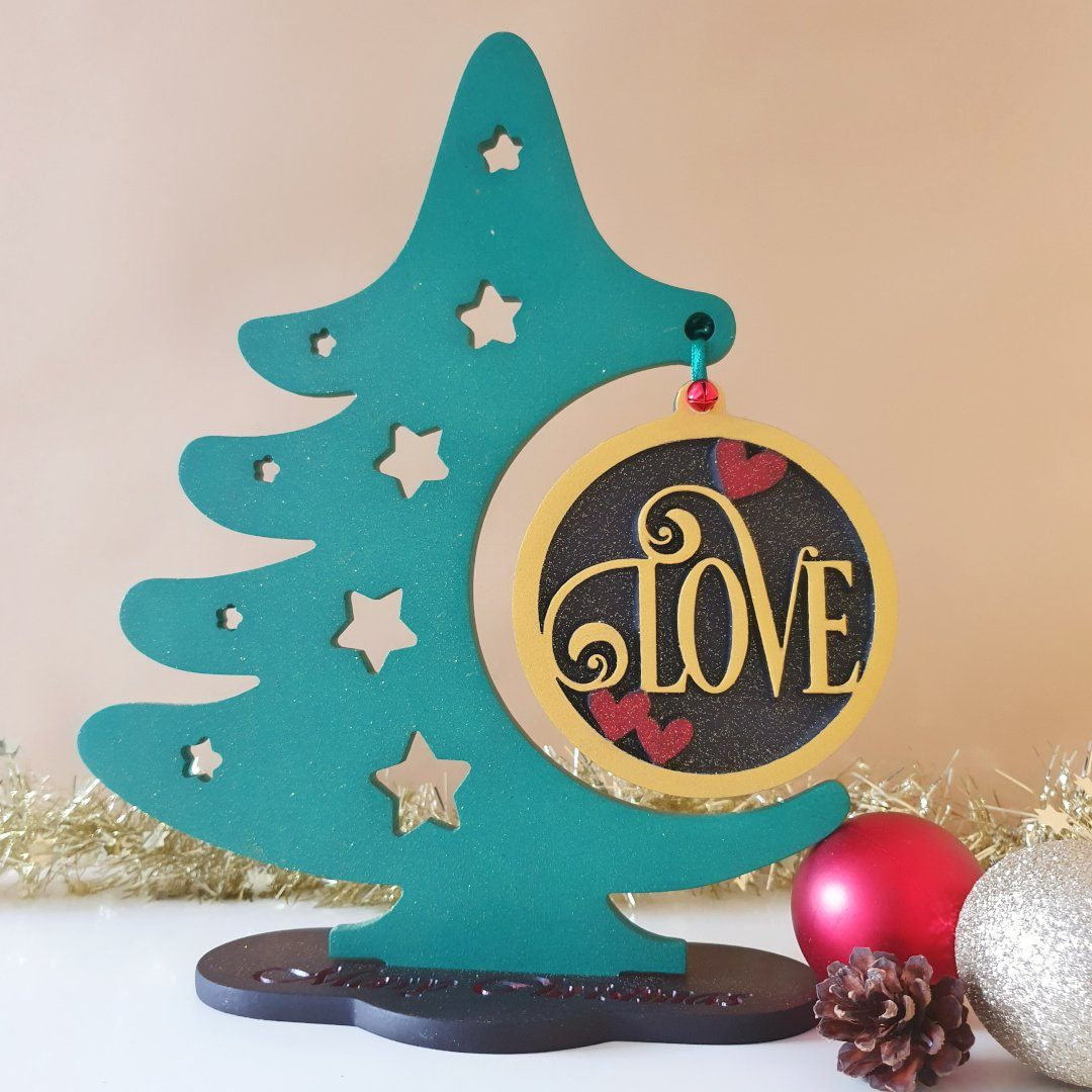 Wood Christmas Tree Christmas Ornament Display Stand Wooden Love Chr
