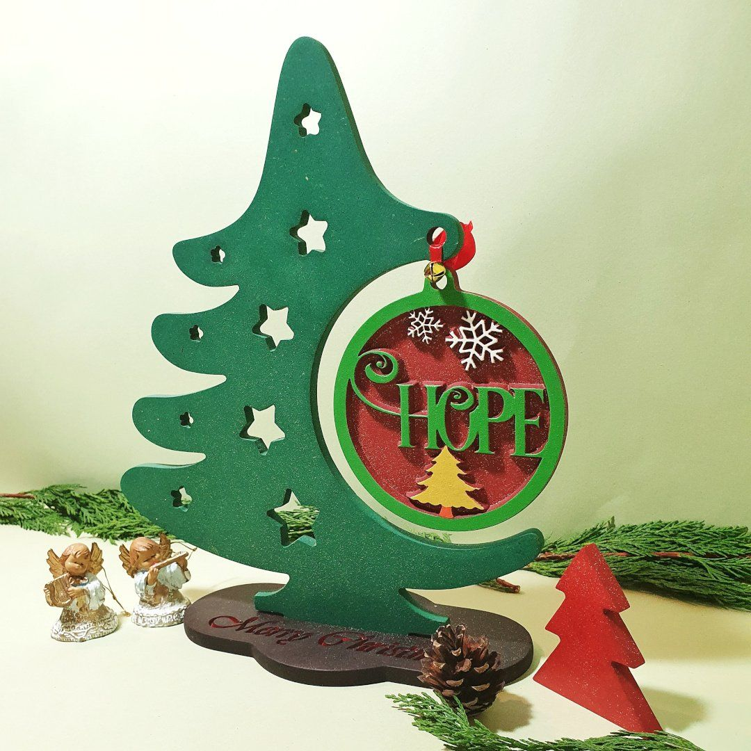 Wood Christmas Tree Christmas Ornament Display Stand Wooden Hope Chr