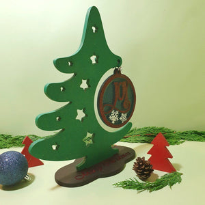 Wood Christmas Tree, Christmas Ornament Display Stand, Wooden Joy Christmas Tree