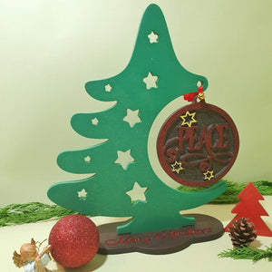 Wood Christmas Tree, Christmas Ornament Display Stand, Wooden Peace Christmas Tree, Peace