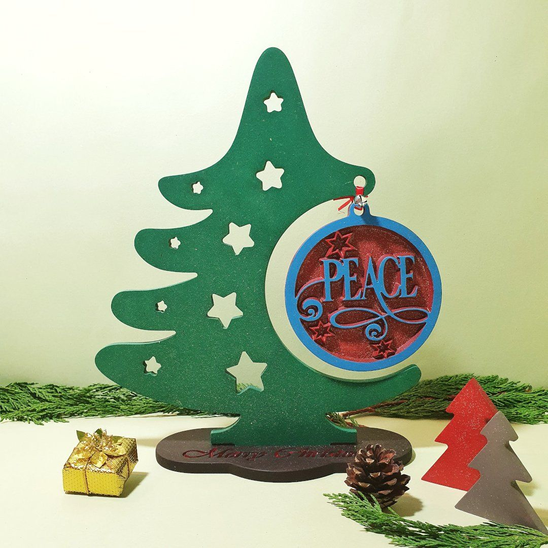 Wood Christmas Tree Christmas Ornament Display Stand Wooden Peace Ch