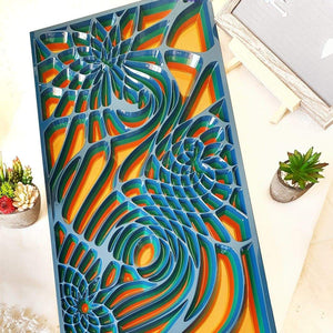 Wood wall art decor created with Valchromat as wood material. Front view of the carved wall art