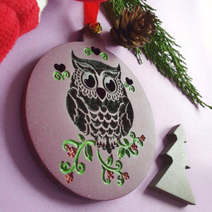 Wooden Xmas Family Tree Ornament/Decoration, Christmas Decorations 2020, Festive Decorations, Xmas Gifts, Owl Christmas Ornament