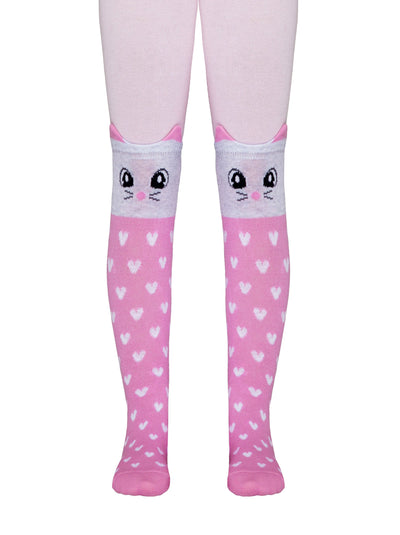 Girls patterned tights PINK KITTY