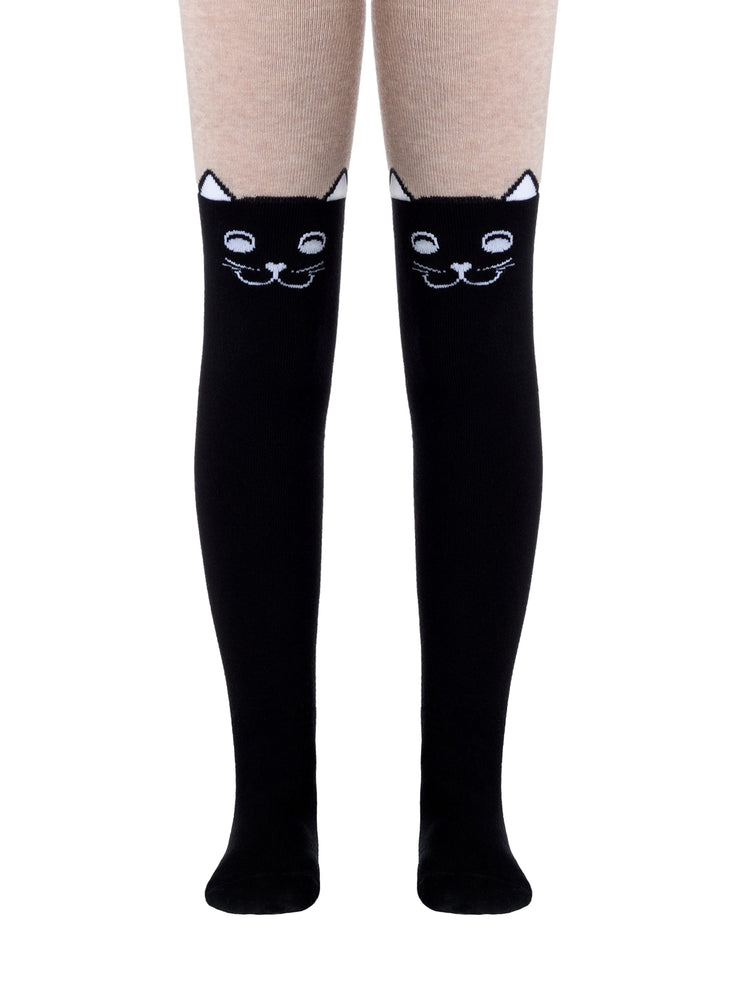 Baby cotton tights with patterns BLACK CAT - black/beige