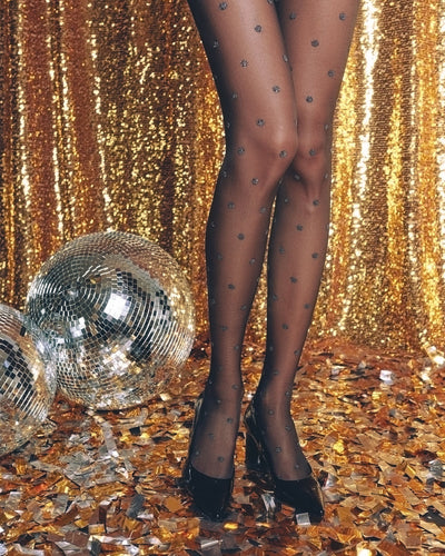 Black shiny polka dot tights with big shiny Lurex dots Conte Elegant Brilliant 20 denier