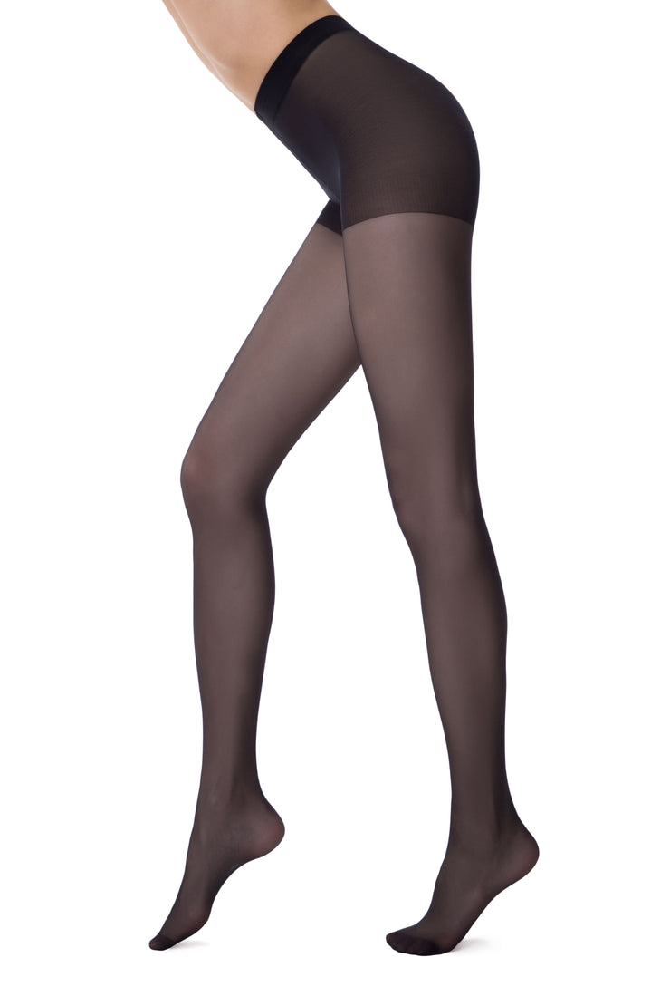 Compression support hose tights black pantyhose 20 denier Conte Active with compression support top and vitamin E for sensitive skin. No more itchy skin irritation!