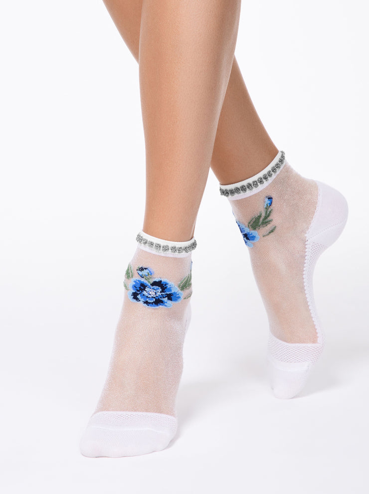 Exclusive patterned cool and cute sheer women's socks with beautiful blue flower by Conte Elegant
