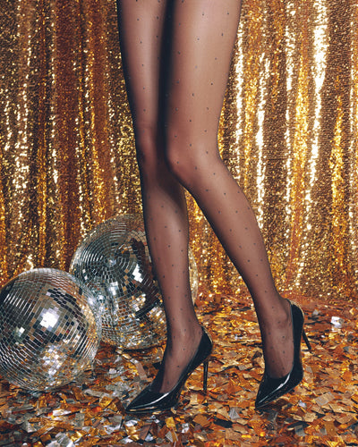 Shiny Polka Dot tights pantyhose with small shiny Lurex dots pattern Conte GLAMOUR LUX 20 den