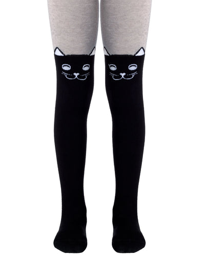 Girls tights with black and grey color with cat face by Conte-Kids