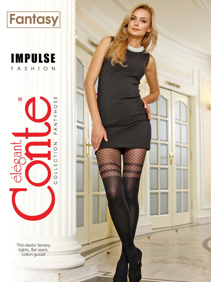 Stockings imitation tights with fishnet IMPULSE 60 den