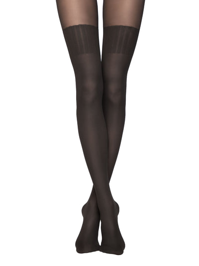 Opaque knee high black tights pantyhose with luxury opaque stockings Conte Elegant Erica