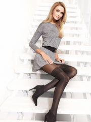 luxury black stockings Opaque knee high tights pantyhose Erica by Conte Elegant